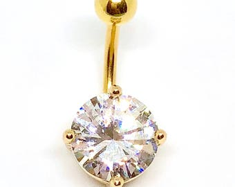 Gold Plated 10mm CZ Belly Bar Navel Body Jewellery 316L Surgical Steel Bar and Ball