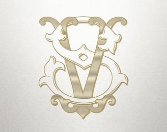 Wedding Invitation Monogram - SV VS - Invitation Monogram - Interlocking