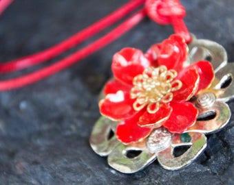 Handmade Repurpose Antique Vintage Red Enamel Flower Pendant & Cord Necklace Silver Gold Tones Satin Cord OOAK Refashion Eco Boho Statement