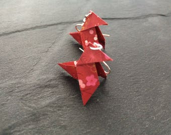 Earrings Cocote Origami red flower - silver