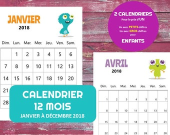 Calendrier mensuel etsy for Calendrier digital mural