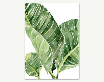 Botanical Watercolor Print, Leaves Print, Tropical Print, Green Leaves Wall Art, Printable Art, Botanical Art, Wall Decor