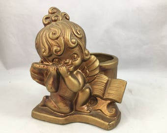 Vintage Gold Painted Little Flute Playing Angel Candle Holder