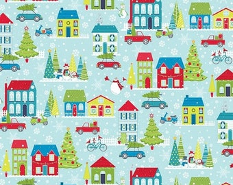 Sale Light Turquoise Mulberry Lane Village rom the Mulberry Lane Collection by Cherry Guidry for Contempo Studios, Christmas Fabric, Winter