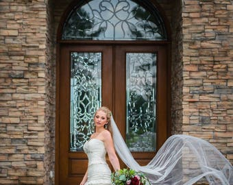 """Ivory Cathedral Wedding Veil / sheer Cut Round Edge/ Ready to Ship / 1-tier / 112x60""""/ Comb / Add Custom Order HEADPIECE / soft ivory"""