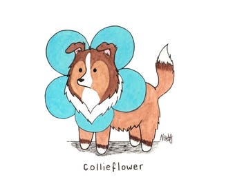 Collieflower - Illustration Print Postcard