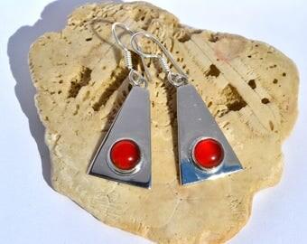 Sterling Silver Earrings with Cornelian