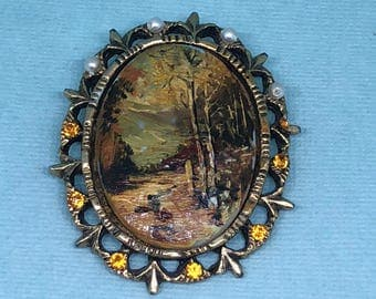 Hand painted Brooch OOAK Fall Forest Scene Large Brooch Miniature Painting Fall Leaves Stream