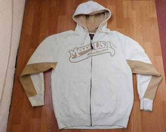 MECCA hoodie, white sweatshirt of vintage 90s hip-hop clothing, old school 1990s hip hop jacket, OG, gangsta rap, size L Large