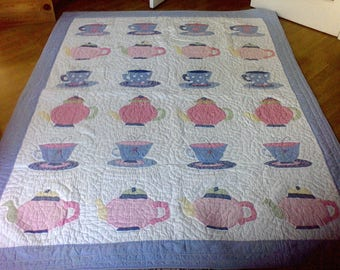 Handmade quilt ,  100 percent cotton, hand quilted quilted , Appliqued, tea cups, tea pots,68x86