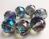 3mm large Hole Chinese Cystal BlueAB/GreenAB/ClearAB Coated Faceted Round Loose Beads Size 30mm 7PCS Per Strand