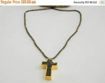 on sale 80% Discount Lava Stone Christian Cross Pendant with pyrite roundel With Electroplated Gold Edge Charms 1 pec Size 15x25 MM Approx