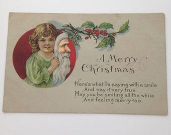 Vintage 1921 Holiday Post Card With Original Markings