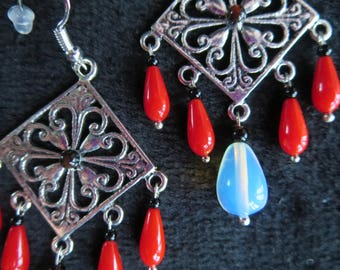 """Earrings """"rose"""" with coral and opaline drops beads"""