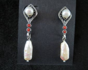 stylish with cultured pearls and coral earrings