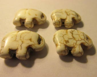 Carved White Magnesite Baby Elephant Beads, 20mm, Set of 4