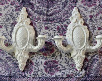 Vintage Painted Metal Double Candle Sconces
