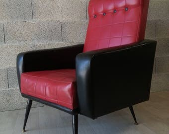 Rockabilly black and Red imitation leather chair