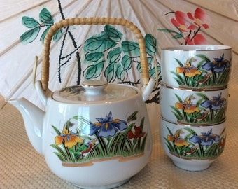 Lovely teapot orange and blue iris  color floral pattern Japan circa 1945 ceramic
