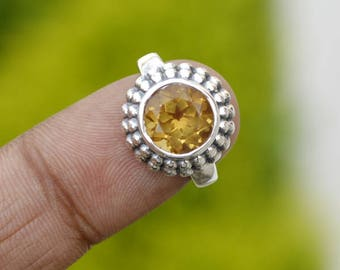 Sterling Silver Citrine Rings, Gemstone Stacking Ring, Yellow Gold Citrine Ring, Citrine Jewelry, November Birthstone Jewelry, Gift Jewelry
