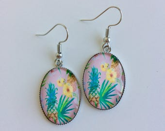 Flowers and dangle pineapple earrings tropical cabochons