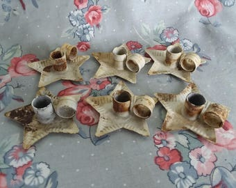 Vintage Rusty Tinware Star Mini Candleholders Set Of Six