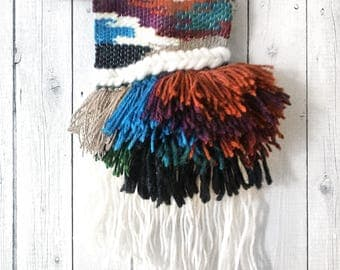 Tassel Burst | Woven Wall Hanging with Tassel Fringe | Vibrant Jewel Tone Handmade Weaving | Woven Wall Art | Tapestry Weaving