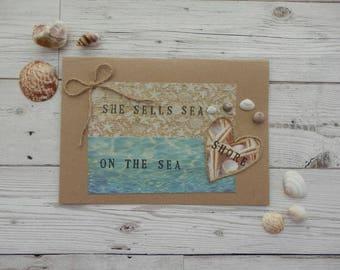 she sells sea shells on the sea shore card,seashell card,beach themed card,seashell collectors card,beachcombers card,sea quote card