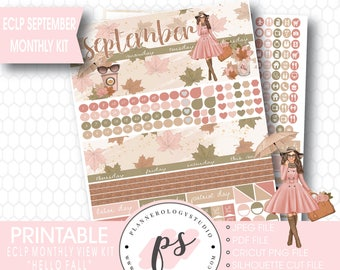 Hello Fall September 2017 Monthly View Kit Printable Planner Stickers (for use with ECLP) | JPG/PDF/Silhouette Cut File