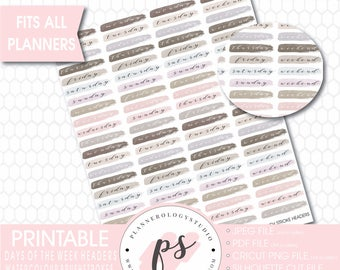 Watercolour Days of the Week & Weekend Brushstroke Headers Bujo Printable Planner Stickers | JPG/PDF/Silhouette Cut File