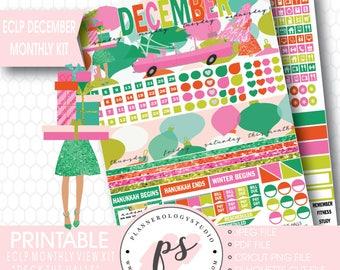 Deck the Halls Christmas December Monthly View Kit Printable Planner Stickers (for use with ECLP) | JPG/PDF/Silhouette Compatible Cut File