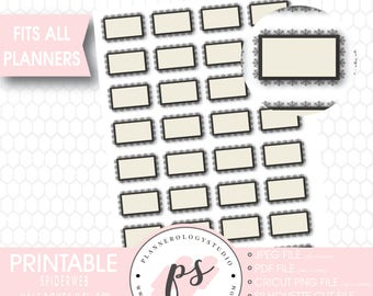 Spiderweb Halloween Half Boxes Printable Planner Stickers   JPG/PDF/Silhouette Compatible Cut Files