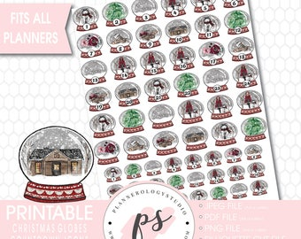 24 Day Christmas Globes Countdown Icons Printable Planner Stickers | JPG/PDF/Silhouette Compatible Cut