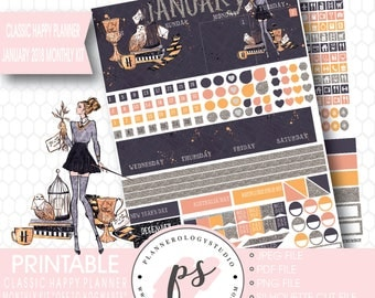 Off to Hogwarts January 2018 Monthly View Kit Printable Planner Stickers (for Classic Happy Planner) |JPG/PDF/Silhouette Cut File