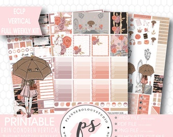 Blushing Rose Valentine's Day Theme Full Weekly Kit Printable Planner Stickers | JPG/PDF/Silhouette Cut Files | For Use with ECLP Vertical
