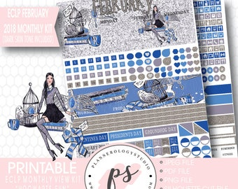 Hogwarts Fun February 2018 Monthly View Kit Printable Planner Stickers (Dark & Light Skin Tone) (for Erin Condren ECLP) |JPG/PDF/Cut File