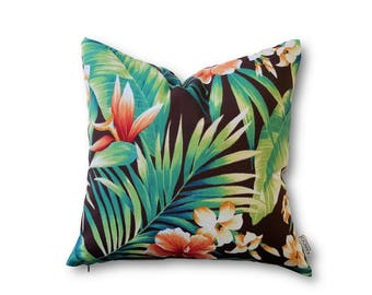 Tropical Floral Cushion Cover, Outdoor Indoor Cushion Covers, Tropical Cushion, Outdoor Pillow, Hawaii Decor, Green Leaf Cushion Cover