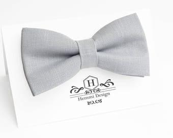 Dusty Grey Linen Bow Tie For Wedding / Grey Bow tie for groomsmen / Boy's Toddler's Baby's Men's Grey Bow Tie / Grey bow tie / linen bow tie
