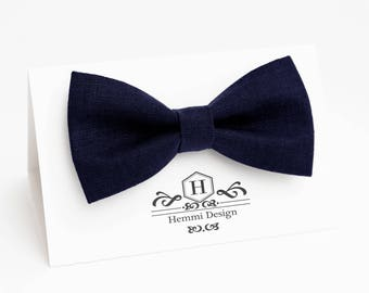 Dark Blue Linen Bow Tie For Wedding - Groomsmen / Boy's / Toddler's / Men's Bow Tie