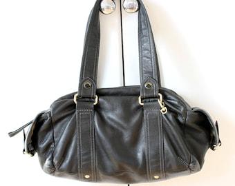 TED BAKER Large Black Leather Baguette Bag, Large Leather Shoulder Bag, Large Designer Black Handbag, Soft Designer Leather Shoulder Bag