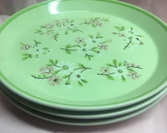 Set Of 3 Mikasa Colormates Chinoise Salad Plates Pink and Green Flowers 1970s
