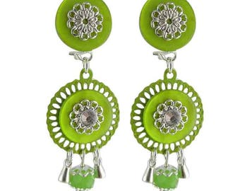 Earrings clip green Smarty (made in France)