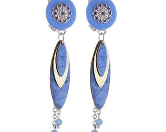 Earring clip blue petals (made in France)