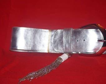 beautiful belt in leather silver