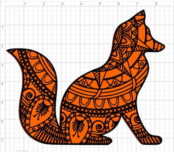 Download Layered Fox Mandala Design SVG EPS DXF Studio 3 Cut File