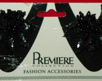 Vintage Premiere Collection Fashion Accessories for Shoes Black Beaded Floral Accents