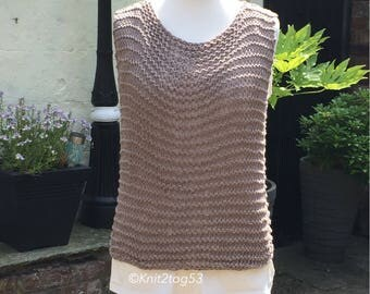 Cotton Ladies Loose Knit Tank Top/Cover up. Great for Holidays, Beach, Summer. lightweight and comfortable