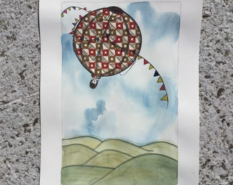 Polar Bear-Vintage Baloon-trip-wallpaper-wall art-watercolor-Original collage-old style-old book 30x42