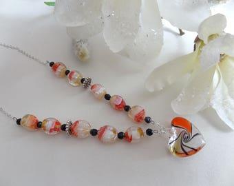 Long necklace yellow orange black Lampwork heart bead