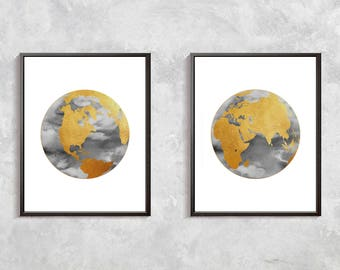 Globe art etsy gold world map print watercolor globe gold decor world clobe art gold globe gumiabroncs Gallery